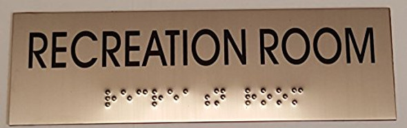 RECREATION ROOM - BRAILLE-Tactile Signs (Heavy Duty-Commercial Use )  Braille sign