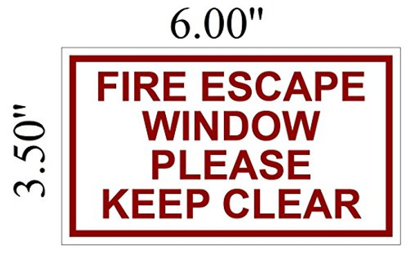 Two (2) FIRE Escape Window Please Keep Clear Signage