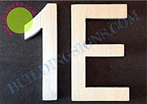Apartment Number 1E Sign (Brush Silver,Double Sided Tape, Rust Free, 2.75 inch)-ÉLÉGANTE NUMÉRO DE Porte BROSSE Artiste