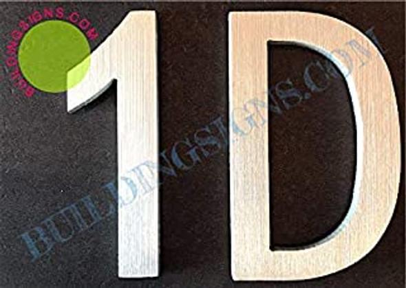 Apartment Number 1D Sign (Brush Silver,Double Sided Tape, Rust Free, 2.75 inch)-ÉLÉGANTE NUMÉRO DE Porte BROSSE Artiste
