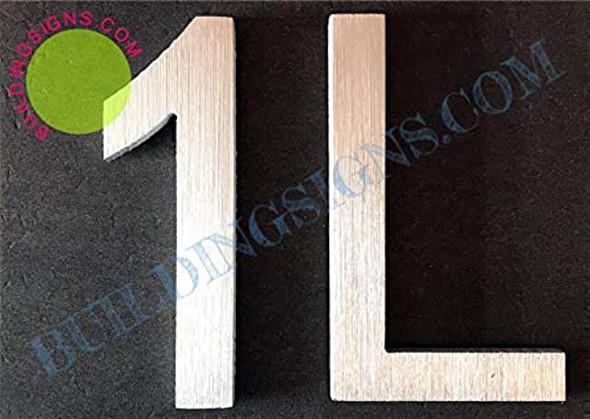 Apartment Number 1L Sign (Brush Silver,Double Sided Tape, Rust Free, 2.75 inch)-ÉLÉGANTE NUMÉRO DE Porte BROSSE Artiste