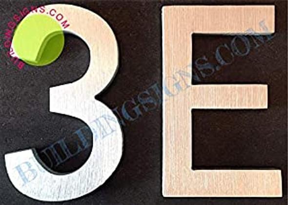 Apartment Number 3E Sign (Brush Silver,Double Sided Tape, Rust Free, 2.75 inch)-ÉLÉGANTE NUMÉRO DE Porte BROSSE Artiste