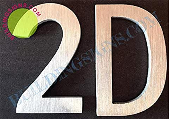 Apartment Number 2D Sign (Brush Silver,Double Sided Tape, Rust Free, 2.75 inch)-ÉLÉGANTE NUMÉRO DE Porte BROSSE Artiste