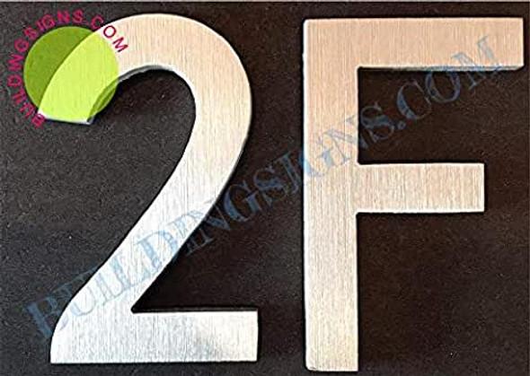Apartment Number 2F Sign (Brush Silver,Double Sided Tape, Rust Free, 2.75 inch)-ÉLÉGANTE NUMÉRO DE Porte BROSSE Artiste