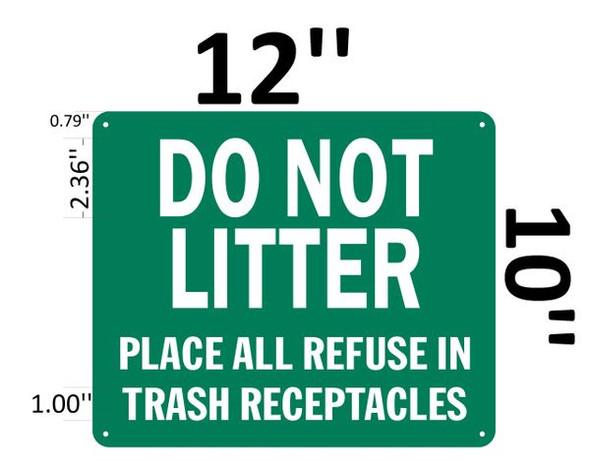 DO NOT LITTER SIGN Green