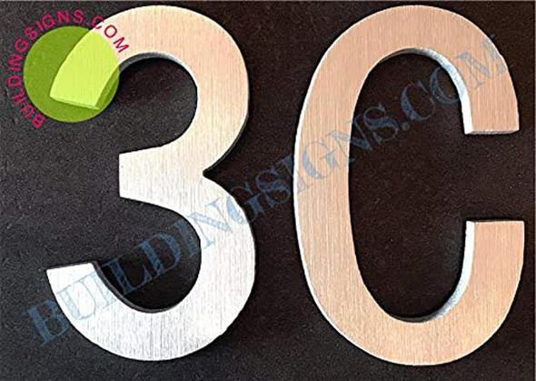 Apartment Number 3C Sign (Brush Silver,Double Sided Tape, Rust Free, 2.75 inch)-ÉLÉGANTE NUMÉRO DE Porte BROSSE Artiste