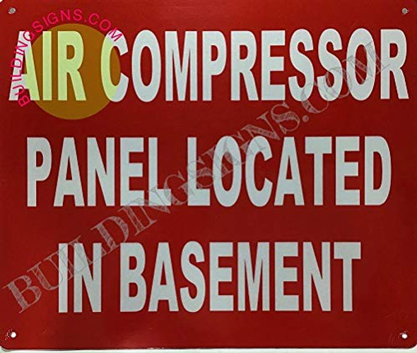 AIR Compressor Panel Located in Basement Signage