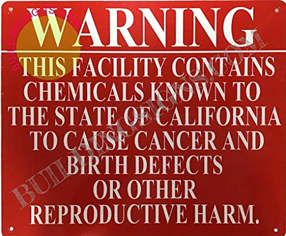Warning This Facility Contains Chemicals Known to The State of CA to Cause Cancer Signage