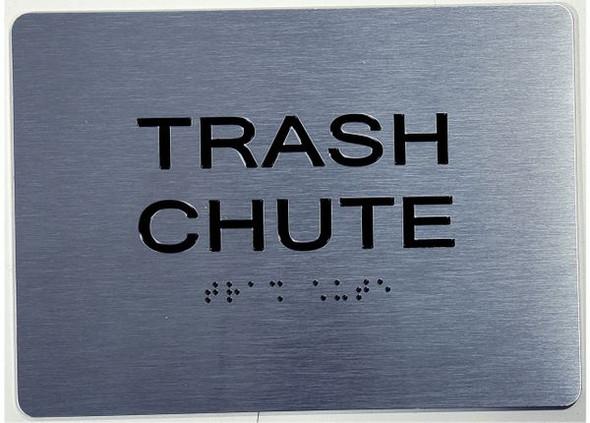 TRASH CHUTE ADA Sign Brush Silver
