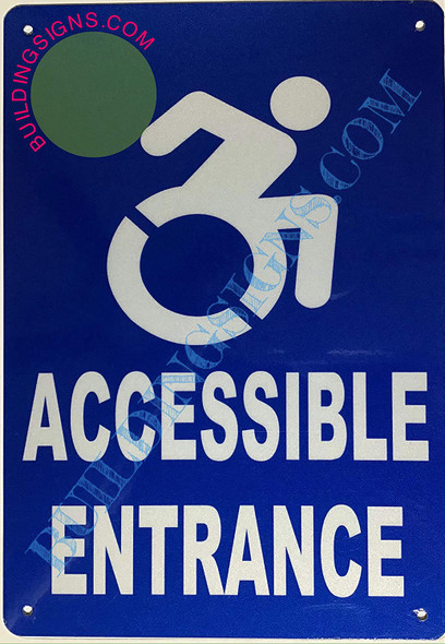 ACCESSIBLE Entrance SIGNAGE (Aluminium-Rust Free,Blue,  )