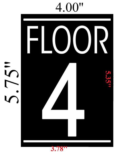 FLOOR 4 SIGN (BLACK 5.75X4)