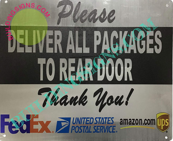 SIGN Please Deliver All Packages to Rear Door