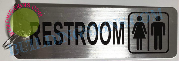 SIGN 2-Sided Unisex Restroom Keychain or Key Tag  BuildingSign