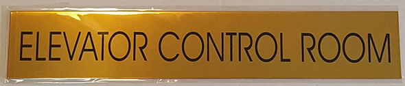 SIGNAGE ELEVATOR CONTROL ROOM  - Gold BACKGROUND  WITH SELF ADHESIVE STICKER FOR INDOOR USE