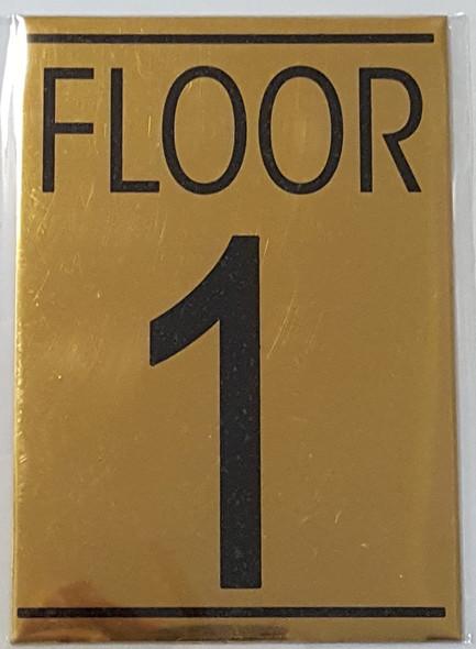 FLOOR 1 SIGN - Gold BACKGROUND