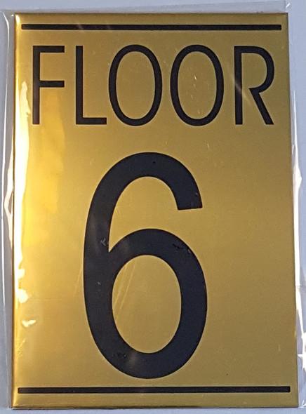 FLOOR 6 SIGN - Gold BACKGROUND