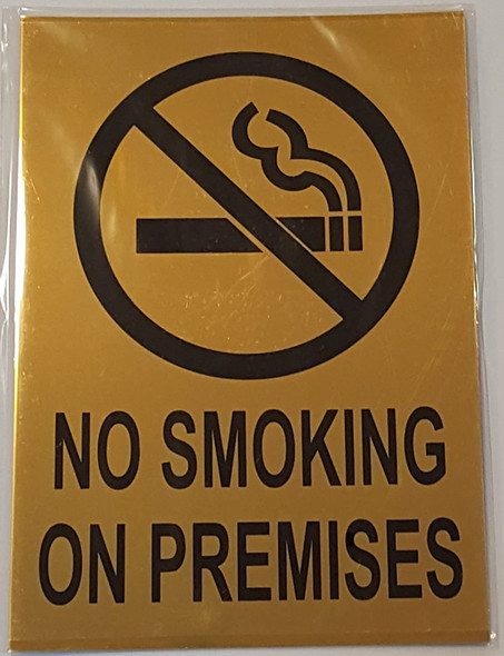 NO SMOKING ON PREMISES SIGN - GOLD BACKGROUND