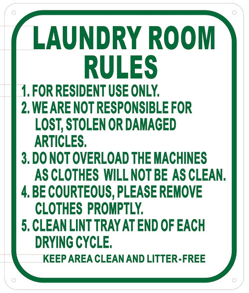 Laundry Room Rules Sign (,Aluminium -Rust Free)