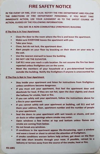 Door fire Notice Sign/Hotel fire Door SignDorms fire Door Sign (  Double Sided Tape!!!)
