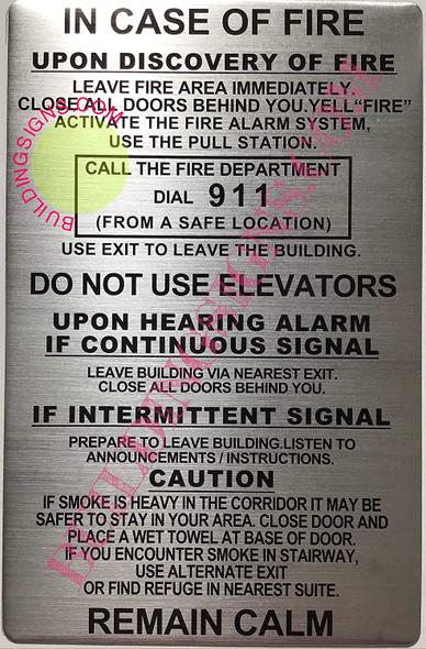 Door fire Notice Signage/Hotel fire Door SignageMotel fire Door Signage (Brush Aluminium  Double Sided Tape)