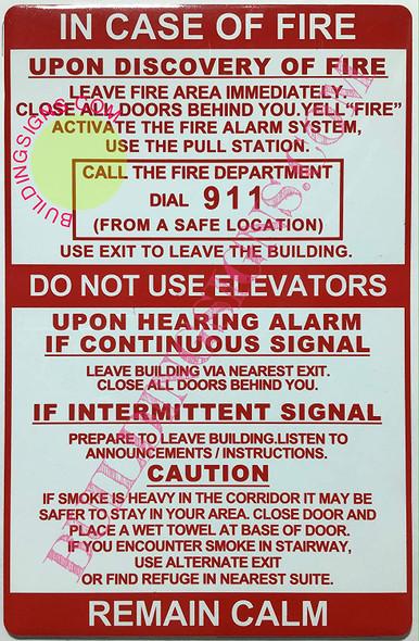 Door fire Notice Signage/Hotel fire Door SignageDorms fire Door Signage (/  Double Sided Tape!!!)