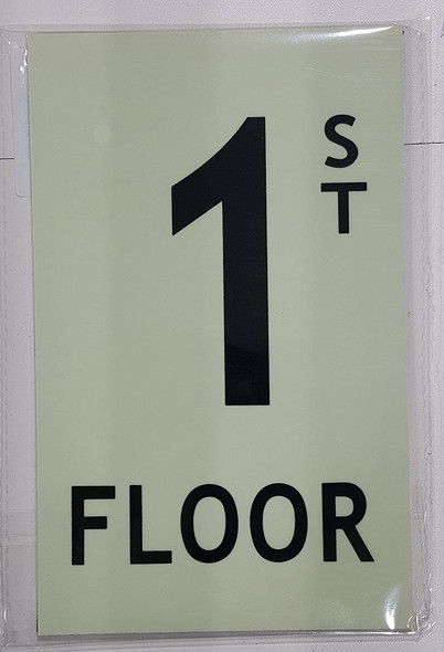 Floor number 1 Sign HEAVY DUTY / GLOW IN THE DARK