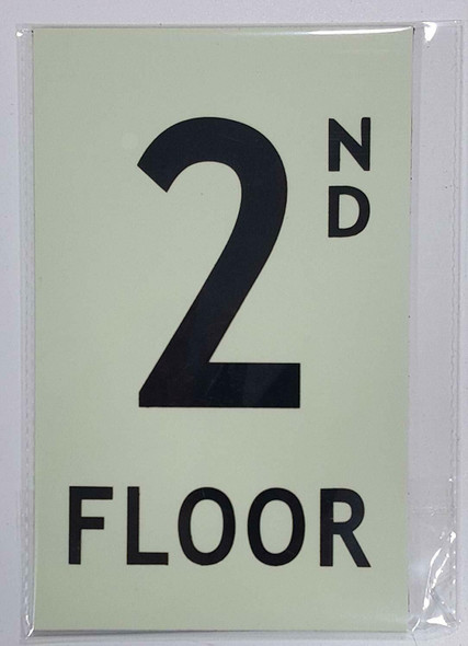 Floor number 2 Sign HEAVY DUTY / GLOW IN THE DARK