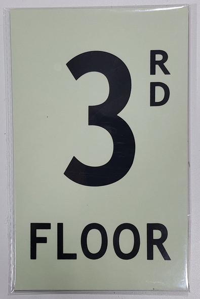 Floor number 3 Sign HEAVY DUTY / GLOW IN THE DARK