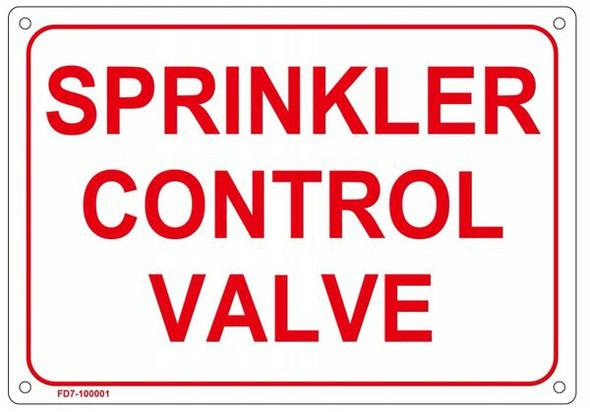 WHITE SPRINKLER CONTROL VALVE SIGN
