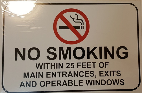 NO SMOKING WITHIN 25 FEET OF MAIN ENTRANCES, EXIT AND OPERABLE WINDOWS Signage