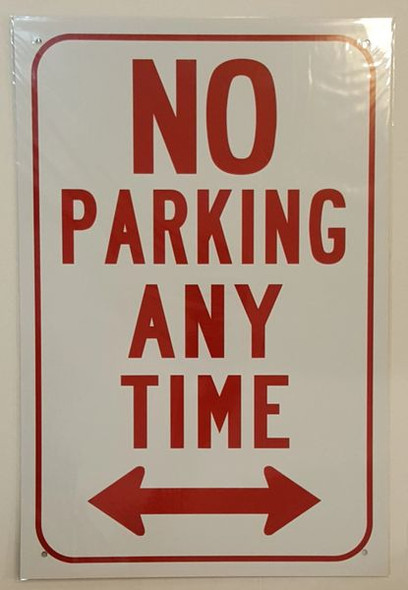 NO PARKING ANY TIME WITH DOUBLE ARROW Signage