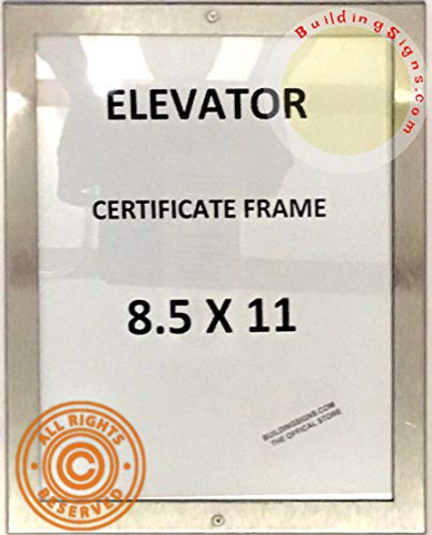 Elevator Certificate FRAME (Lockable !!!, Stainless Steel, Heavy Duty-Commercial use)