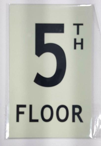 """Floor number Five (5) Sign/ GLOW IN THE DARK """"FLOOR NUMBER"""" Sign"""