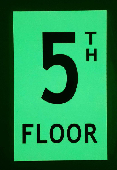 Floor number Five 5) Sign HEAVY DUTY / GLOW IN THE DARK