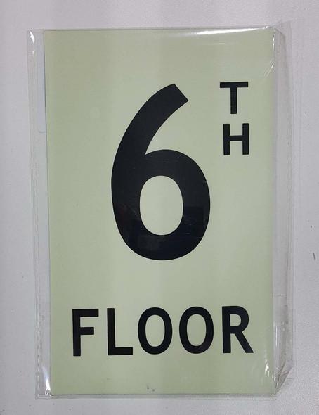 Floor number six 6) Sign HEAVY DUTY / GLOW IN THE DARK