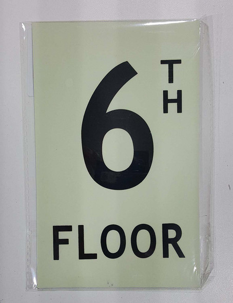 Floor number six 6) Sign HEAVY DUTY / GLOW IN THE DARK