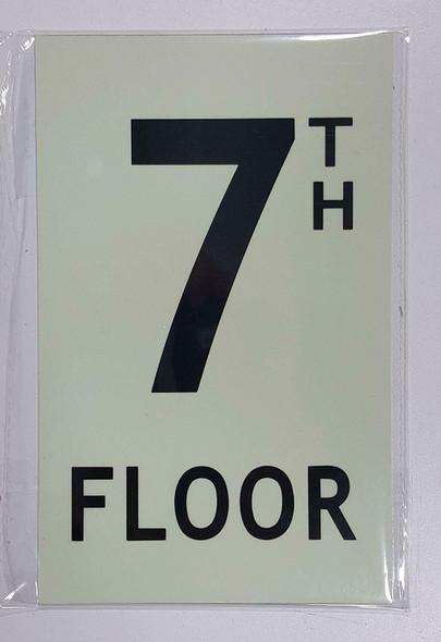 """Floor number Seven (7) Sign/ GLOW IN THE DARK """"FLOOR NUMBER"""" Sign"""