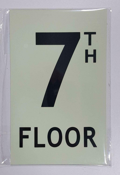 Floor number Seven 7) Sign HEAVY DUTY / GLOW IN THE DARK