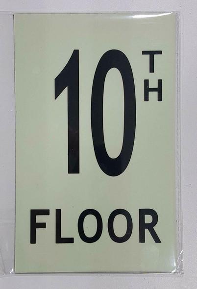 """Floor number TEN (10) Sign/ GLOW IN THE DARK """"FLOOR NUMBER"""" Sign"""