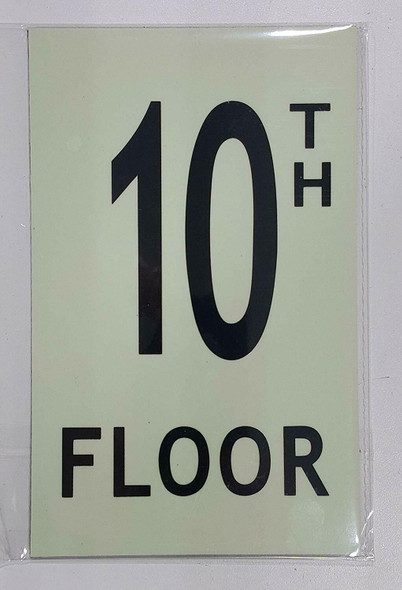 """Floor number TEN (10) Signage/ GLOW IN THE DARK """"FLOOR NUMBER"""" Signage"""