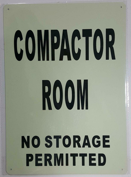 COMPACTOR ROOM SIGN GLOW IN THE DARK