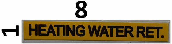 Pipe Marking- Heating Water RET (Sticker Yellow)Signage