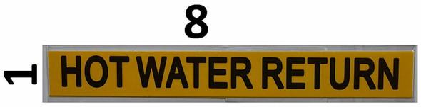 Set of 5 PCS - Pipe Marking- HOT Water Return Sign
