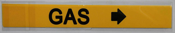 Pipe Marking- Gas Sign with Arrow (Sticker Yellow)