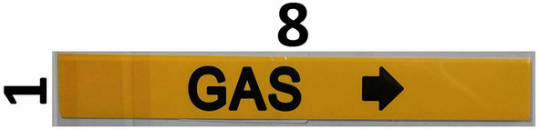 Pipe Marking- Gas Signage with Arrow (Sticker Yellow)