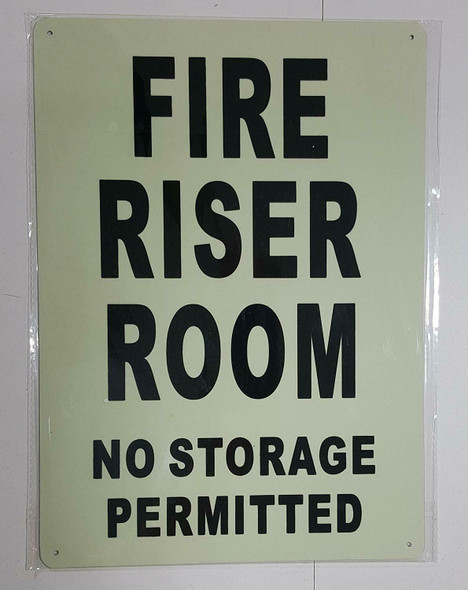 FIRE RISER ROOM SIGN GLOW IN THE DARK