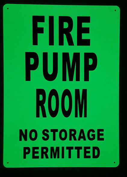 FIRE PUMP ROOM SIGN GLOW IN THE DARK