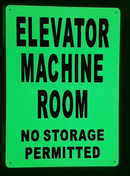 ELEVATOR MACHINE ROOM SIGN GLOW IN THE DARK