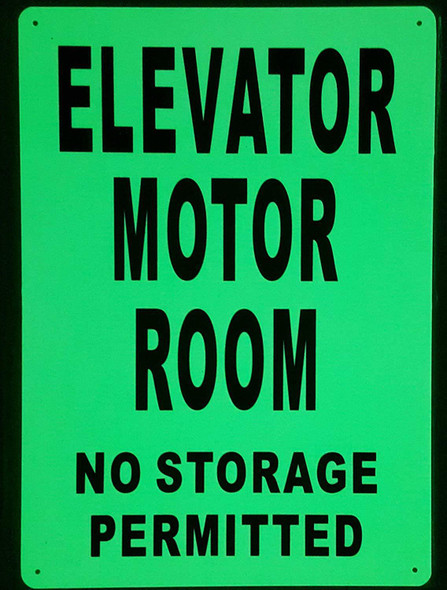ELEVATOR MOTOR ROOM SIGN GLOW IN THE DARK