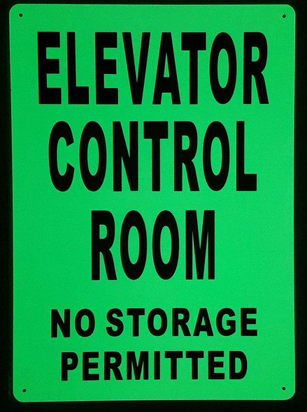 ELEVATOR CONTROL ROOM SIGN GLOW IN THE DARK